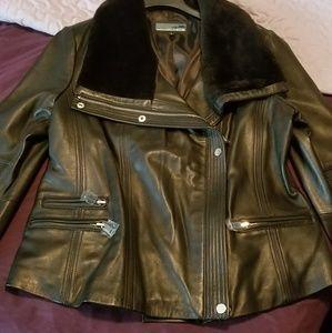 Genuine Leather w/real Lamb fur on collar & cuff